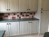 Kitchen units, cooker, hob and extracter, sink and microwave