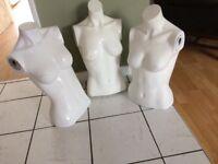3 heavy white plastic female form display torsos retail type