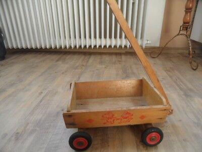 alter kleiner Holz Bollerwagen mit Teddys bedruckt 218