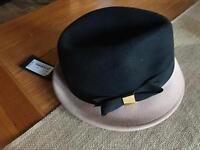 BNWT Ted Baker Felt Bow Trilby Hat (Black/Natural)