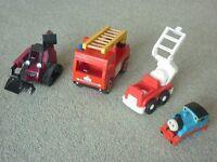 Thomas the Tank Engine, 2 firetrucks and a Bob the Builder digger