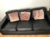 Black leather 3 seater and single seater from Harveys; only 1 year old