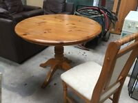Circular round pine kitchen table and 4 chairs