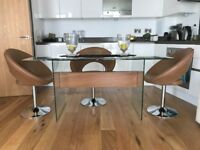 DWELL GLASS DINING TABLE IN ALMOST NEW IMMACULATE CONDITION WITH WOOD FEATURE STYLISH AND MODERN