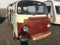 1979 VW T2 Bay Window Rare Twin Dual Sliding Door Late Bay Camper Van Project Ideal for Conversion