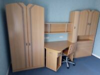 Stylish Bedroom/Home Office Complete Wall Unit With Working Area & Storage