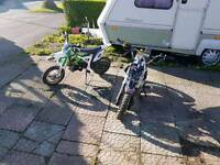 2 pit bikes m2r kx90 and cobra 50