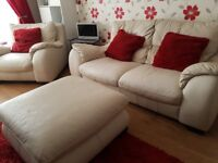 2 Seater Cream Leather Sofa, Matching Chair & Footstool/Pouffe, Plus Media TV Unit for quick sale