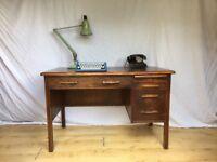 Vintage Abbess old school Art Deco oak antique desk