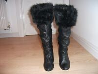 ITALIAN BLACK LEATHER KNEE HIGH BOOTS WITH FUR TRIM SIZE 6