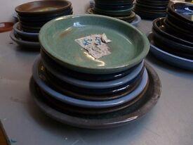 8 Glazed terracotta plant pot dishes