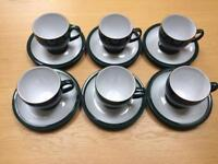 Denby Greenwich Cups and Saucers. (X6)