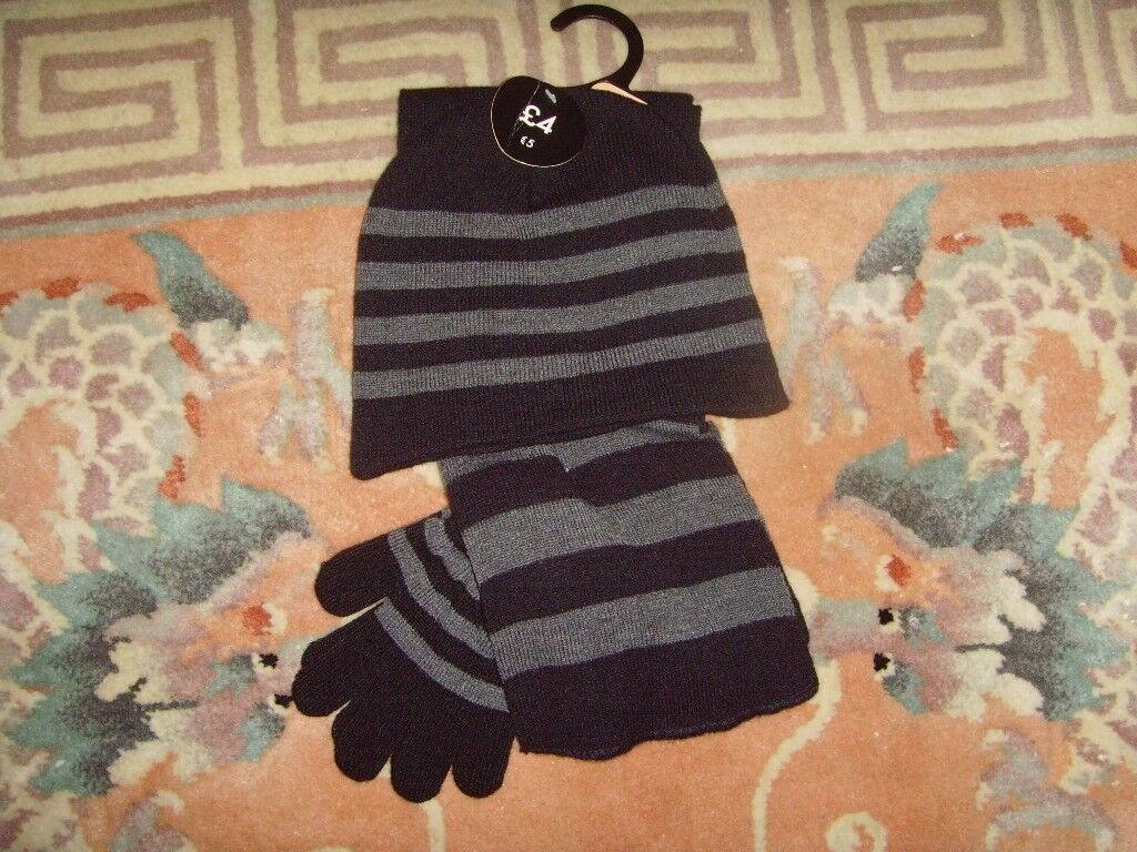 (NEW) BOYS HAT,SCARF,GLOVES SET ,AGE 5-7 YEARS - £1.50