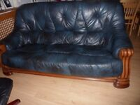 Leather Sofa & 2 Chairs Solid Oak Frame