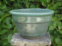 Stylish Green Glazed Ceramic Garden Planter Classic Plant Pot Shape 17cm Tall