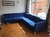 IKEA Corner settee, blue, 4 years old, 5-7 seater, 280x240cm.