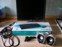 "Brand New Logitech mk330 keyboard & mouse, Logitech Z120 speakers, 17"" Dell Monitor"