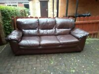 3 seater brown leather sofa in excellent condition, approx. 7 foot in lenght