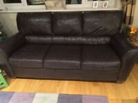 Brown Leather Sofa, 3 Seater, 200cm x 90cm wide x 93cm high. Good condition,