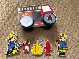 Fire Engine Toy Vehicle Wooden
