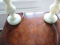 2 Table Lamps ( Matching) Light Green Onyx Pattern