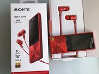 Sony NW-A25 Walkman 16GB (and SD support) with Hi-Res and noise cancelling headphones - red colour