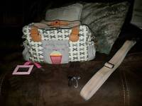 Yummy Mummy changing bag, changing mat, mirror, Baby bag, & buggy clips - NEW