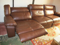 leather sofa brown electrical reclining 3 large seats sits up to 5 easy hardly used