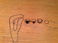 3 gold rings/ 1 men's earring/ 1 child's necklace