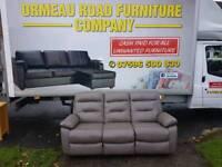 Harvey's Grey leather 3 seater reclining sofa