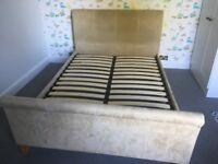 Double moleskin sleigh bed and mattress