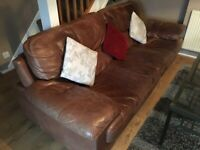 Leather 4 Seater SOFA (Brown Tanned) *FREE*