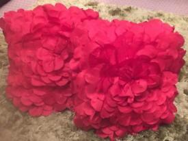 Rose petal satin cushions