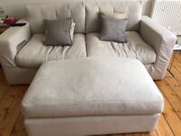 Sofa and Footstool - beige hessian - free for collection