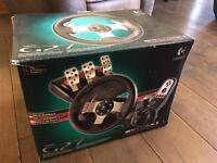 Logitech G27 gaming steering wheel with pedals and gear shifter