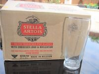 Box of 12 New Ravenhead STELLA ARTOIS Toughened Embossed Logo PINT GLASSES