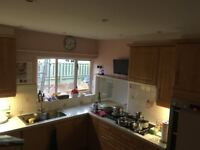 Complete Beech Colour Kitchen including hob and double oven
