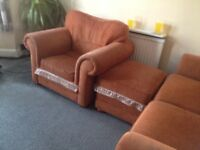 2/3 seater sofa, armchair and storage footstool.