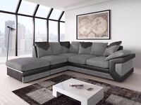 NEW-DELIVER ALL LONDON Fabric Corner Sofa In Grey & Black COLOUR- 3 &2 SEATER SOFA AVAILABLESTOCK