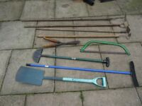 vintage garden tools ( hoes and shears ) and other garden tools £5 each