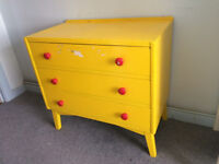 1960's Chest of Drawers - painted yellow - proper furniture, not flat-pack - up-cycle opportunity?