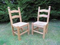 2 x Solid Beech Kitchen Chairs (Heavy)