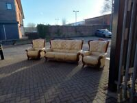nice 3 seater cream leather and wood sofa and 2 armchairs