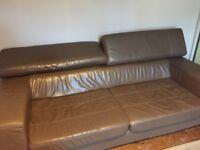 Italian chocolate leather sofas 3+2