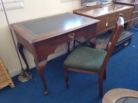 Vintage Mahogany Green Leather Top Single Drawer Desk