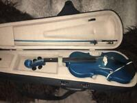 Student 3/4 Blue glitzy violin with carry case and bow