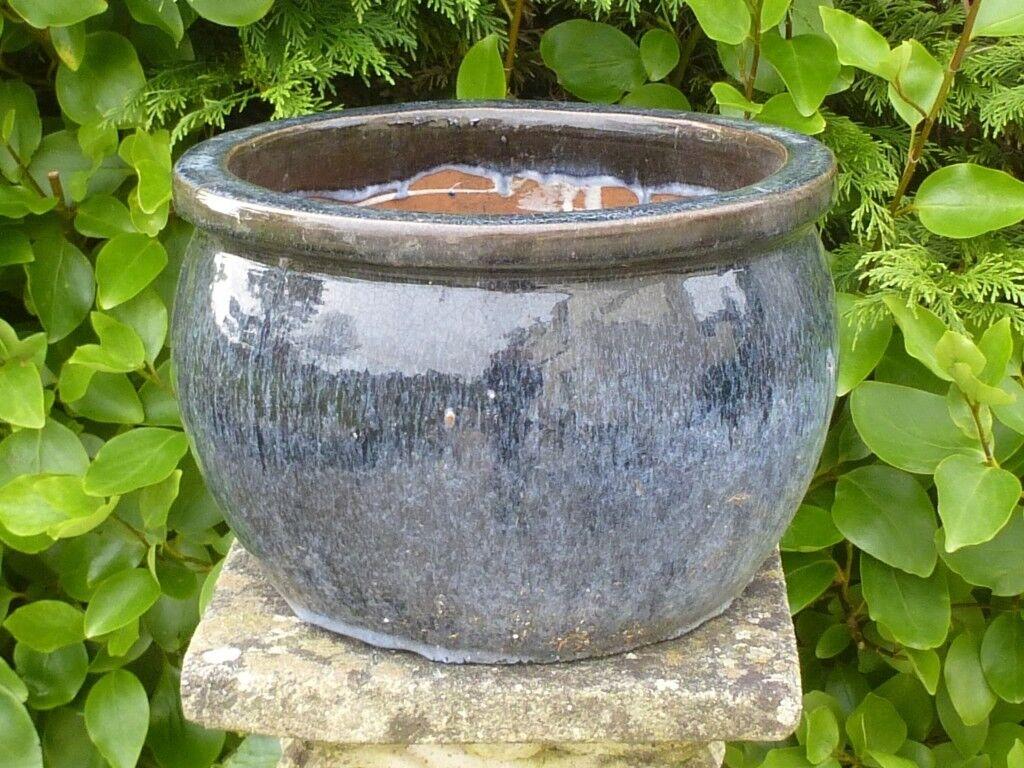 Classic Bulbous Dapple Grey Ceramic Garden Planter 19cm