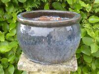 Classic Bulbous Dapple Grey Ceramic Garden Planter 19cm Tall Garden Pot