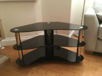 TV Stand - Black Glass / Silver Tube