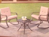 ( Reduced for quick sell ) New - Havana Padded Rocking Bistro - 2 x rocking chairs and table